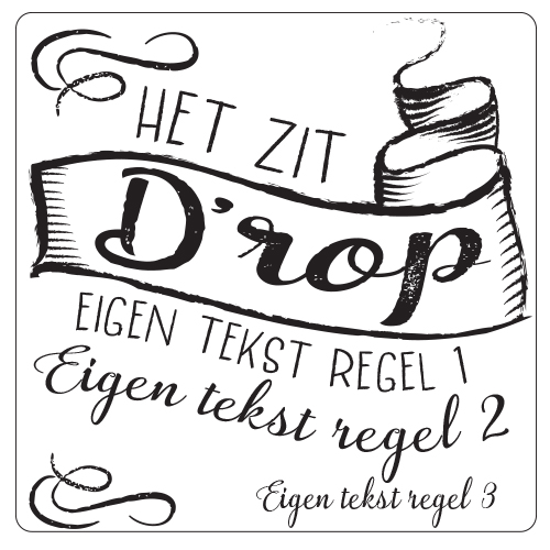 Afscheidscadeau snoeppot etiket/label – Het zit D'rop