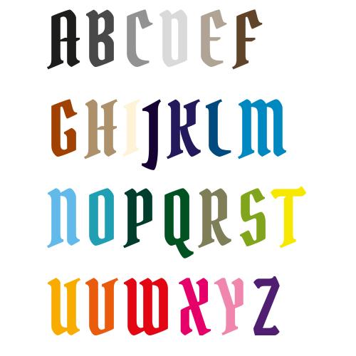 Naamsticker | Lettertype 22