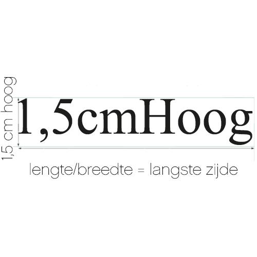 Naamsticker | formaat 1,5 cm hoog