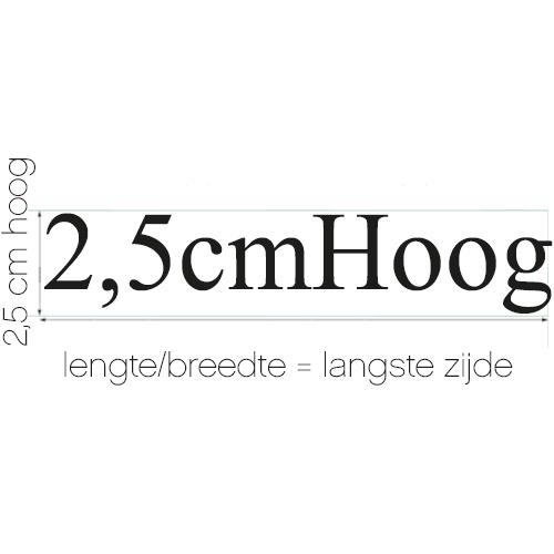 Naamsticker | formaat 2,5 cm hoog