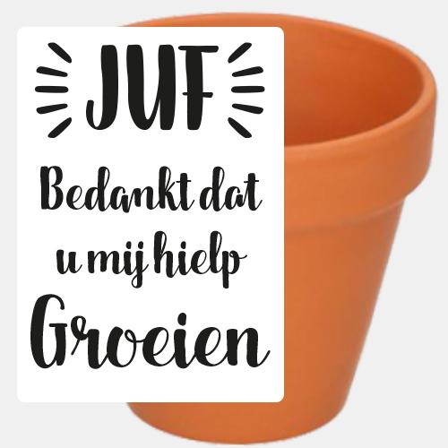 Label sticker 'Juf bedankt dat u mij hielp groeien'