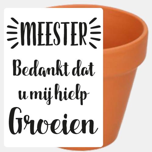 Label sticker 'Meester bedankt dat u mij hielp groeien'