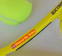 Tennisracket naamstickers met Nederlandse vlag