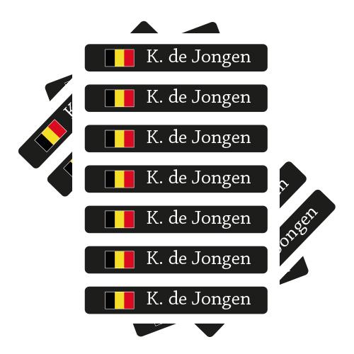 Naamstickers met Belgische vlag