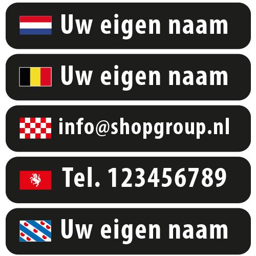 Naamstickers met eigen vlag