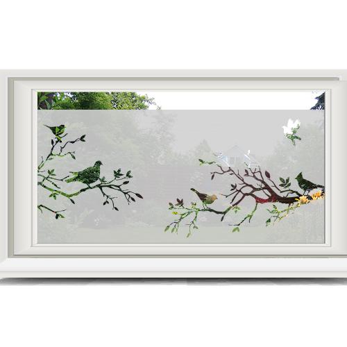 Zelfklevende raamfolie vogels en takken