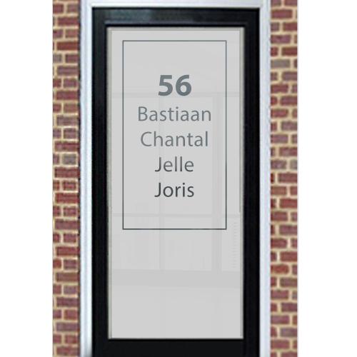 Raamfolie met naam en huisnummer