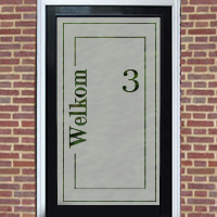 Zelfklevende raamfolie welkom met huisnummer
