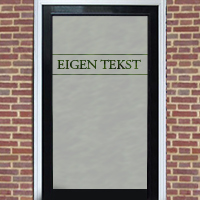 Zelfklevende raamfolie met eigen tekst