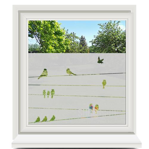 Zelfklevende raamfolie birds on a wire
