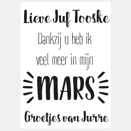 Label sticker 'Juf dankzij u heb ik veel meer in mijn MARS'
