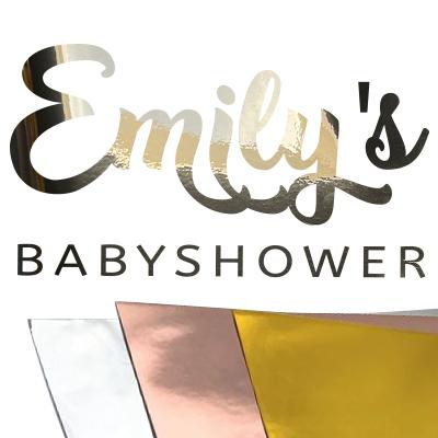 Babyshower sticker met naam