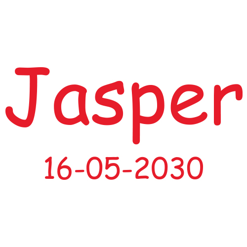 Sticker met naam en datum