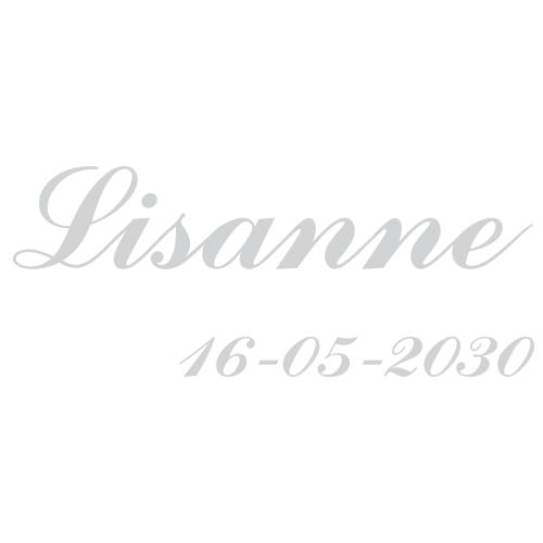 Sticker met datum en naam