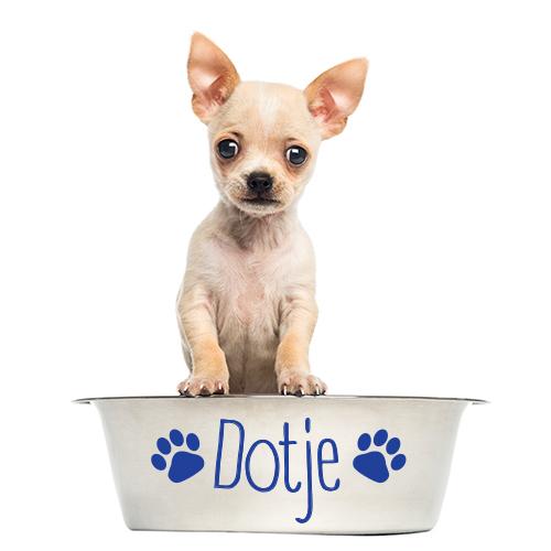 Hondenvoerbak sticker met naam