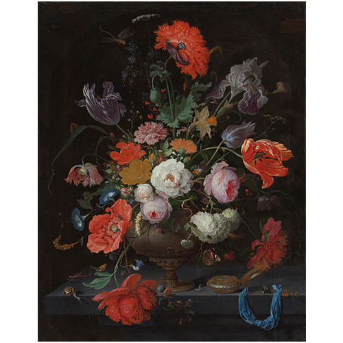 Wanddecoratie Stilleven met bloemen | Abraham Mignon