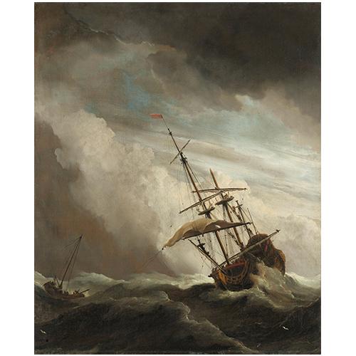 Wanddecoratie De windstoot | Willem van de Velde (II)