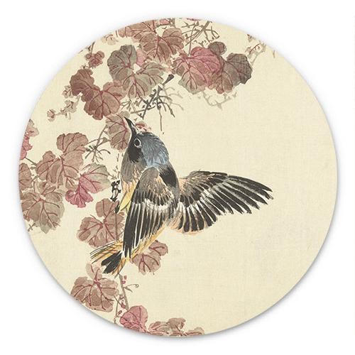 Wanddecoratie Vogel bij rood blad