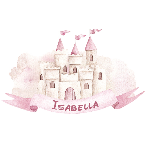 Muursticker kasteel prinses, eigen naam