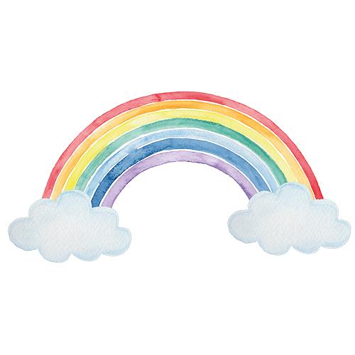 Regenboog muursticker kinderkamer aquarel