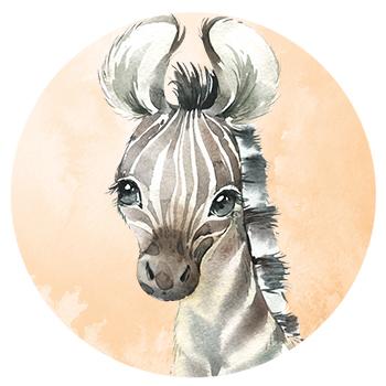 Muursticker zebra wandcirkel waterverf