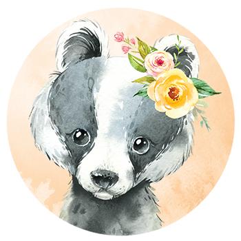 Muursticker Dasje met bloemen