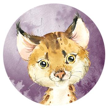 Muursticker Lynx wandcirkel waterverf