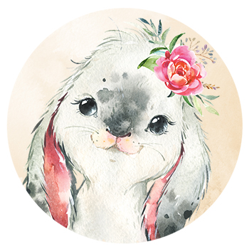 Muursticker konijntje met bloemen