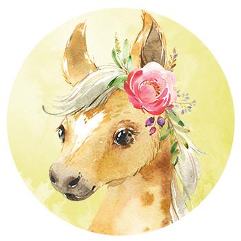 Muursticker Pony met bloemen
