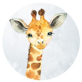 Muursticker Giraf wandcirkel waterverf
