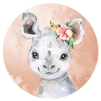 Muursticker Neushoorn met bloemen
