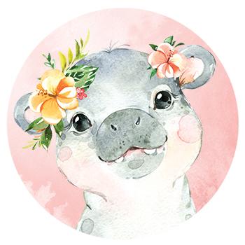 Muursticker Nijlpaard met bloemen