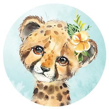 Muursticker Cheetah met bloemen