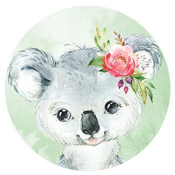 Muursticker Koala met bloemen