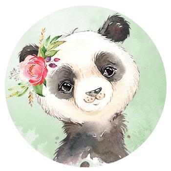 Muursticker Panda met bloemen
