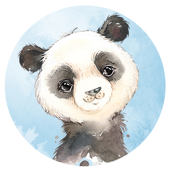 Muursticker Panda wandcirkel waterverf