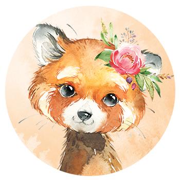 Muursticker Rode Panda met bloemen