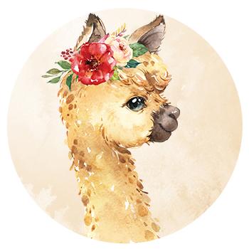 Muursticker lama alpaca met bloemen