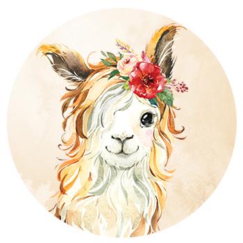 Muursticker alpaca met bloemen