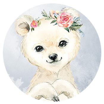 Muursticker ijsbeer met bloemen