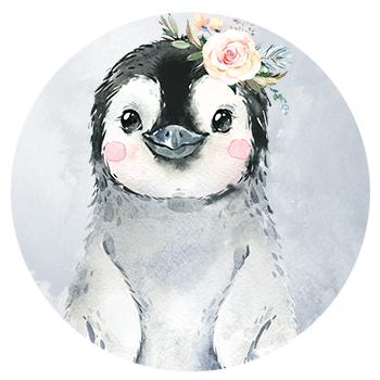 Muursticker pinguin met bloemen