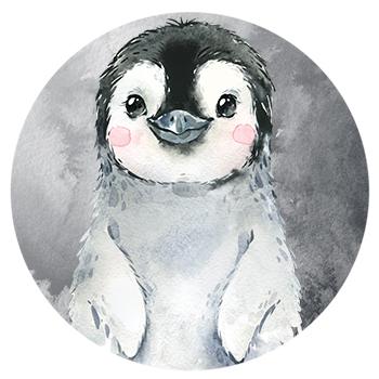 Muursticker Pinguin wandcirkel waterverf