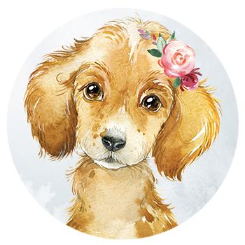 Muursticker puppy met bloemen