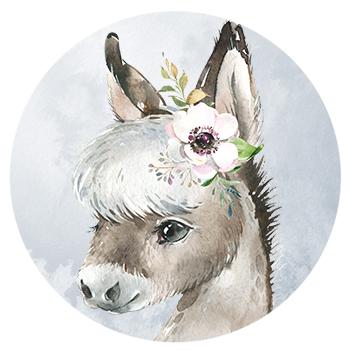 Muursticker ezeltje met bloemen