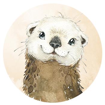 Muursticker Otter wandcirkel waterverf