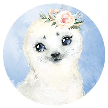 Muursticker zeehond met bloemen