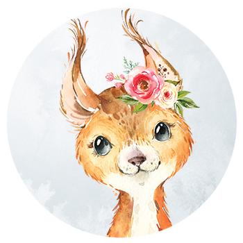 Muursticker eekhoorn met bloemen