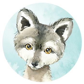 Muursticker Wolf wandcirkel waterverf