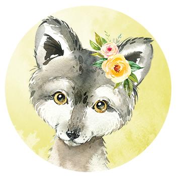 Muursticker wolf met bloemen