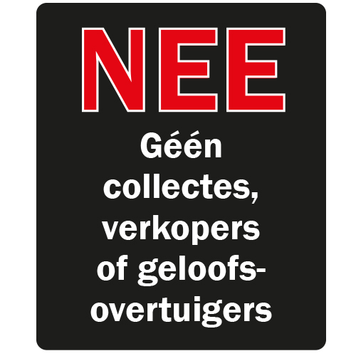 Géén collectes, verkopers of geloofsovertuigers sticker